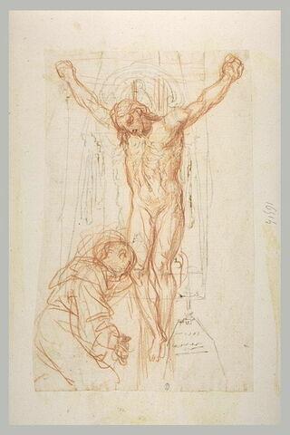 Saint agenouillé devant le Christ en croix