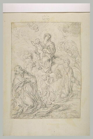 Deux saints adorant la Vierge à l'Enfant