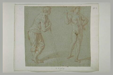 Homme appuyé sur un bâton, et homme nu regardant vers la droite