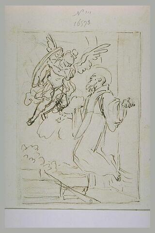 Un archange intercédant pour un saint abbé