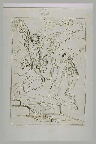 Archange intercédant pour un saint abbé