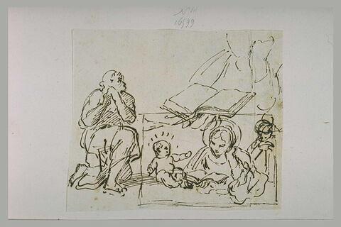 Sainte Famille, avec la Vierge lisant, saint assis, et figure lisant