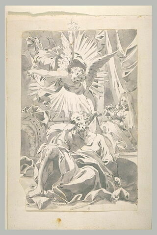 Un ange apparait à Joseph durant son sommeil à côté de la Vierge à l'Enfant