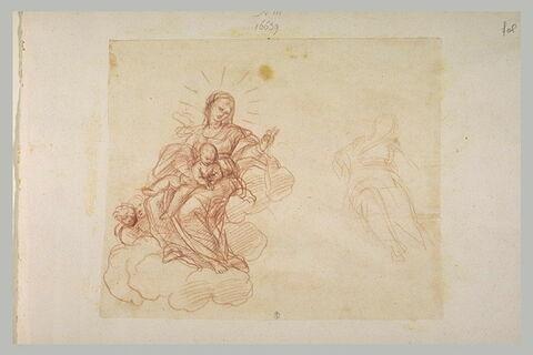 Vierge à l'Enfant sur des nuages distribuant le rosaire