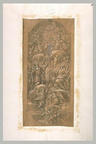 La Sainte Trinité adorée par un groupe d'anges et de saints