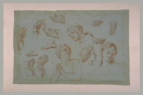 Etudes de mains, pieds, bras, de têtes de moine, d'homme et d'une femme