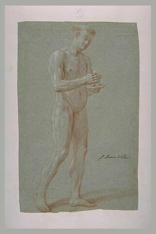 Homme nu tenant une hostie, étude pour un religieux