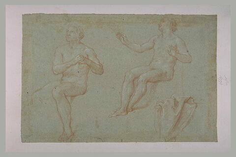 Deux hommes nus, assis, tournés vers la gauche, et étude de draperie