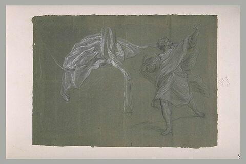 Etude de draperie, et homme marchant, regardant en l'air en se retournant