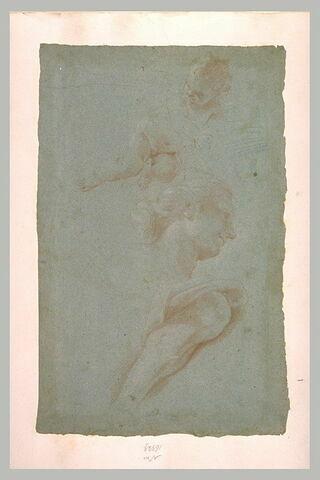 Enfant nu, à demi-allongé, tête de femme et jambe