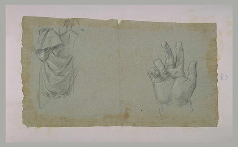 Etude de draperie, et main levée en geste de bénédiction