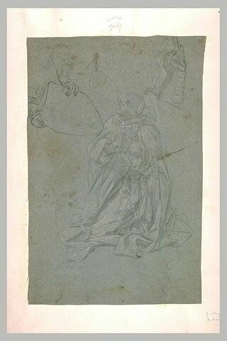 Une figure à genoux et deux mains tenant une tiare