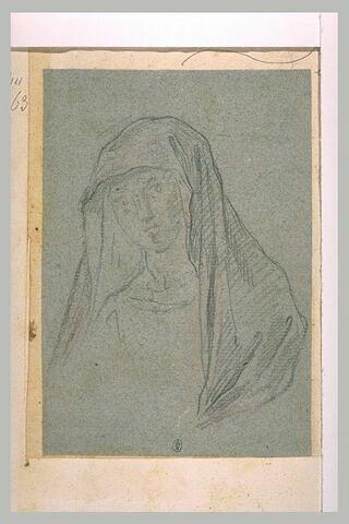 Etude du voile enveloppant la tête d'une femme, pour un buste de la Vierge ?