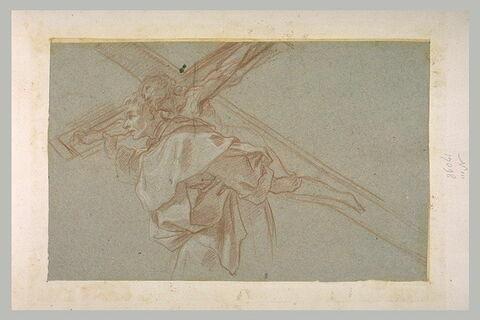 Saint moine portant un grand crucifix sur les épaules