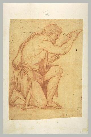 Homme à demi nu, agenouillé, mendiant