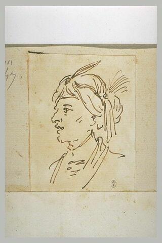 Tête d'homme coiffé d'un turban à aigrette