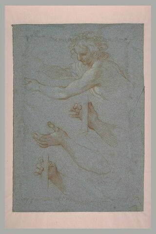 Jeune garçon étendant les bras, et reprises des positions des mains
