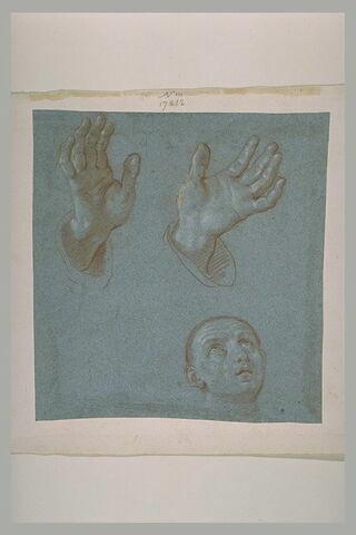 Deux mains ouvertes, et tête d'homme regardant au ciel