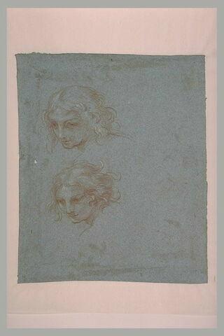 Deux études de tête pour l'ange tenant l'ostensoir