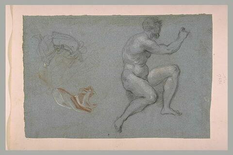 Homme nu, assis, figure agenouillée et étude de draperie