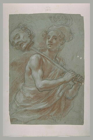 Un jeune homme portant la tête d'un homme au bout d'une épée : David portant la tête de Goliath