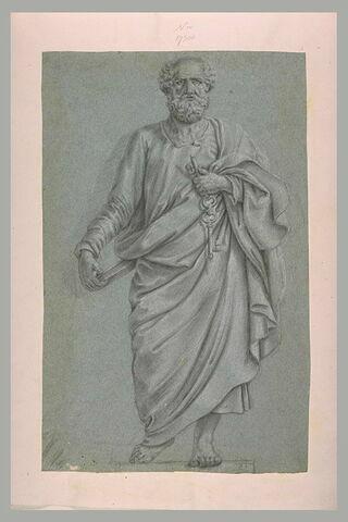 Saint Pierre, debout, tenant un livre et des clés