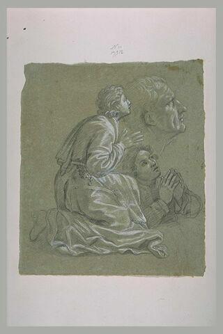 Homme agenouillé priant, demi-figure les mains jointes et tête d'homme