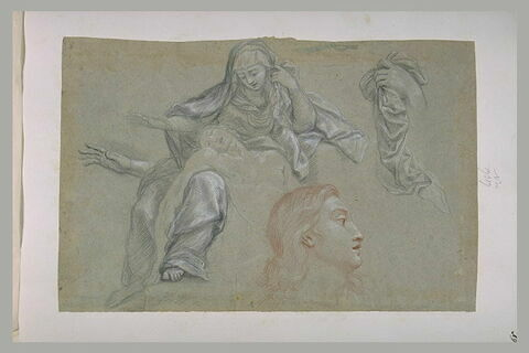 Etudes d'une pièta, d'une main tenant une étoffe, d'une tête vue de profil