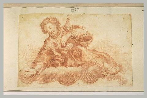 Saint martyre assis sur des nuages