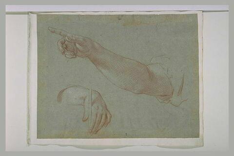 Un bras nu et une main tenant un objet entre le pouce et l'index