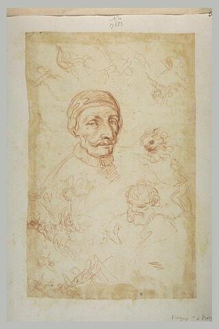 Nombreuses petites figures et tête d'homme portant une moustache