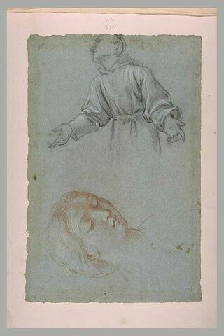 Demi-figure de religieux, les bras ouverts, et tête de femme