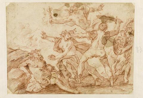 Persée regardant dans son bouclier et tranchant la tête de Méduse