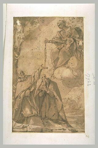 VIerge à l'Enfant distribuant des rosaires à deux saints