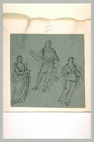 Etudes d'une sainte martyre, d'un homme drapé debout, d'une femme drapée