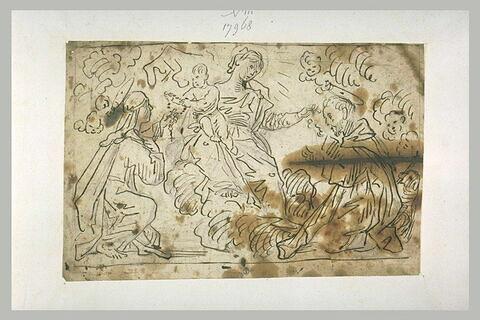Vierge à l'Enfant donnant des rosaires à deux saints