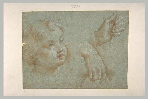 Une tête d'enfant, et deux mains tenant un cercle et un bâton