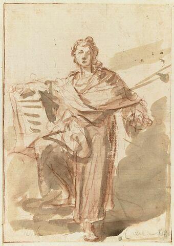Femme drapée tenant un livre d'une main, un genoux plié