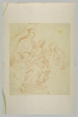 Adoration de la Vierge à l'Enfant par un saint