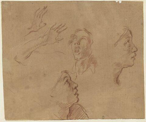 Deux mains ;  deux profils ; tête de face, la bouche ouverte