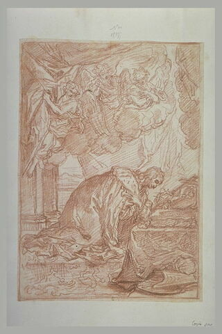 Roi prosterné devant un crucifix
