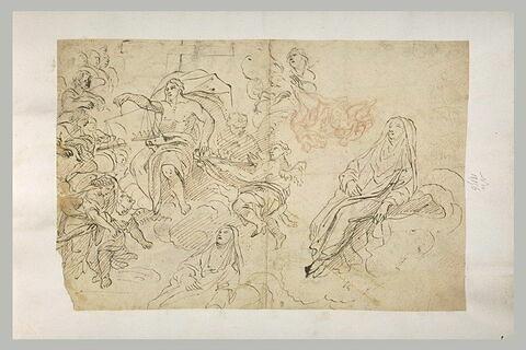 La pesée des âmes, deux saintes dans les nuages, et Loth et ses filles
