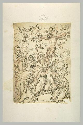 Des religieuses adorant un grand crucifix