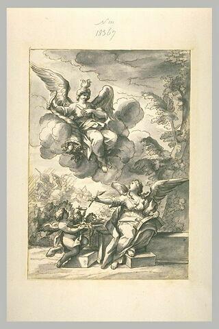 Allégorie écrivant, avec un ange portant des objets cultuels,et l'Abondance