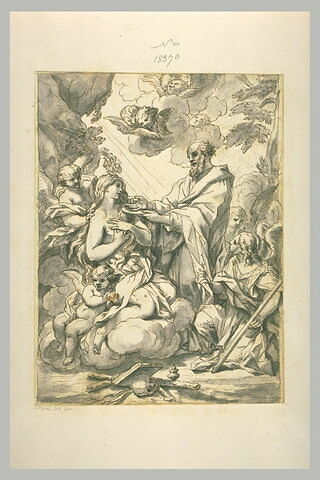 L' ermite Zozime donne la Communion à Marie l'Egyptienne, dans le désert