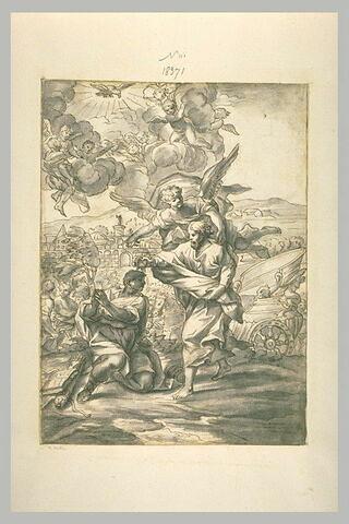 Baptême d'un guerrier par un saint, avec un ange qui désigne d'autres soldat