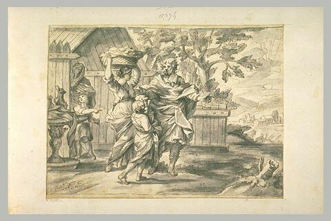Un homme montre une direction à deux femmes et enfants, portant un panier