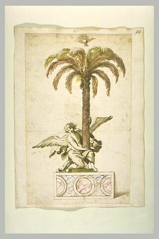 Un ange tenant un palmier au-dessus duquel plane le Saint-Esprit