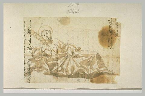 Une sainte, à demi-couché, tenant une palme du martyre