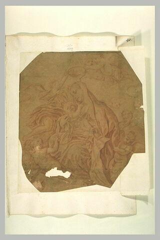 Vierge à l'Enfant entourée et couronnée par des anges